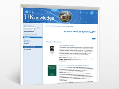 Biology Faculty Book Gallery, the University of Kentucky